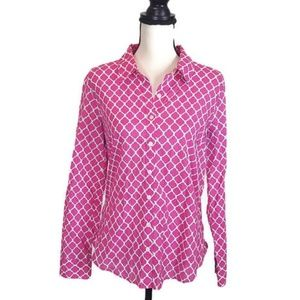 Crown & Ivy Pink and White Button Down